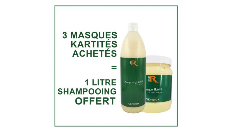 3 Masques Karité achetés - 1 shampooing Karité 1L offert