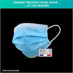 Masque médical bleus sans motifs - Boîte de 60