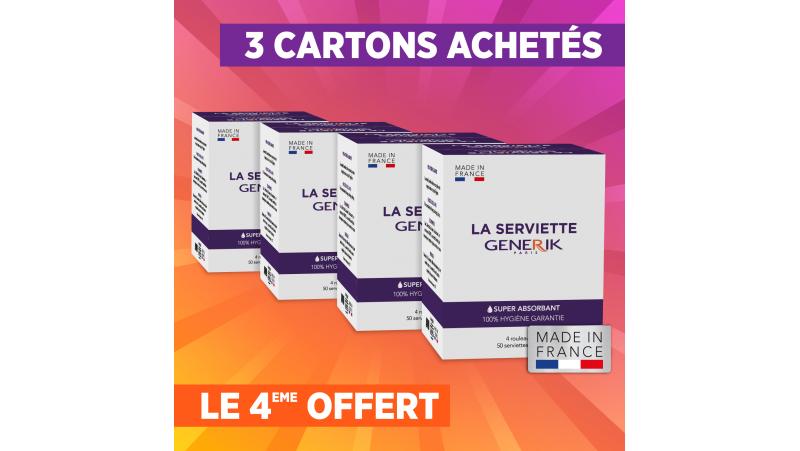 3 cartons de 4rouleaux de serviettes jetables GENERIK+1 carton offert