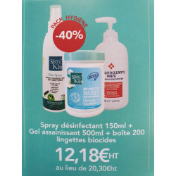 1 Boite de lingettes - 1 Gel Assainissant -1 spray desinfectant 150ml