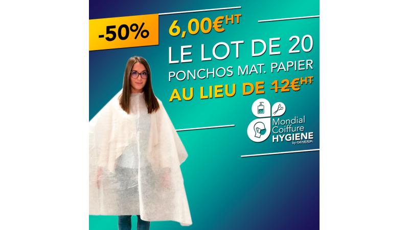 20 Ponchos jetables - matière papier - 120x150cm - 20gr