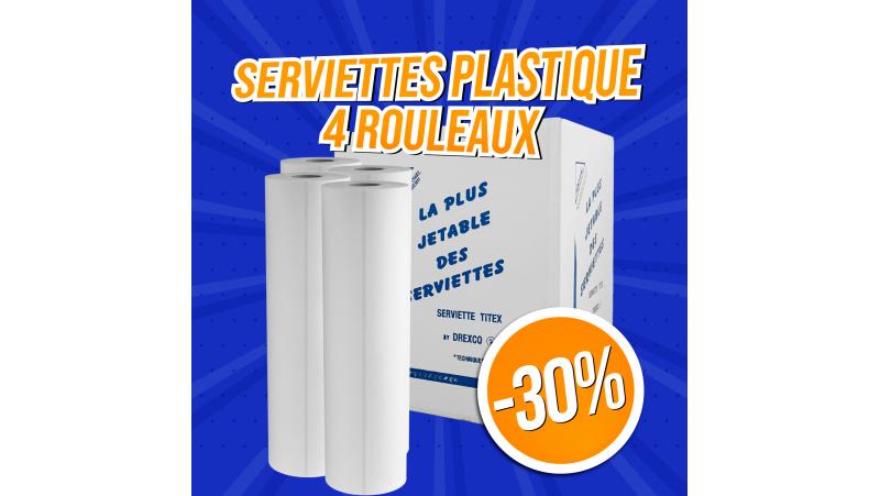 4 rouleaux de serviettes techniques plastifiées jetables - 300 pièces