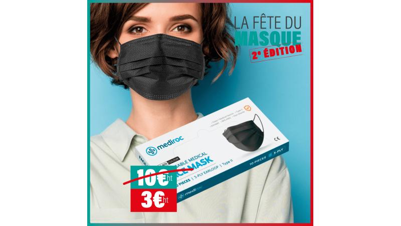 Boîte de 10 masques noirs Type IIR