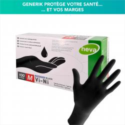 Gants jetables noir - Mélange vinyle + nitrile - Boîte de 100